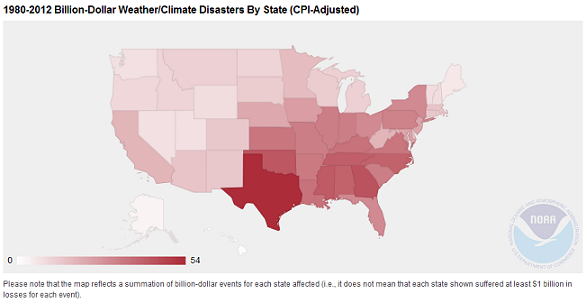 Figure 1: Billion-Dollar Weather/Climate Disasters by State, 1980-2012 (Source: NOAA NCDC)